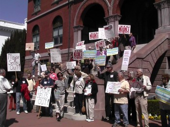 Demonstrators on Steps of Alameda City Hall